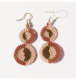 Ink + Alloy Earring Double Circle Pink Rust Ivory