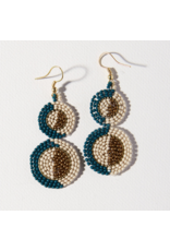 Ink + Alloy Earring Double Circle Peacock Ivory Gold