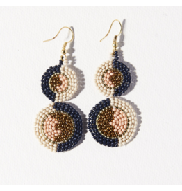 Ink + Alloy Earring Double Circle Navy Pink Ivory