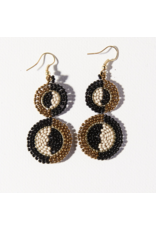 Ink + Alloy Earring Double Circle Black Ivory Gold