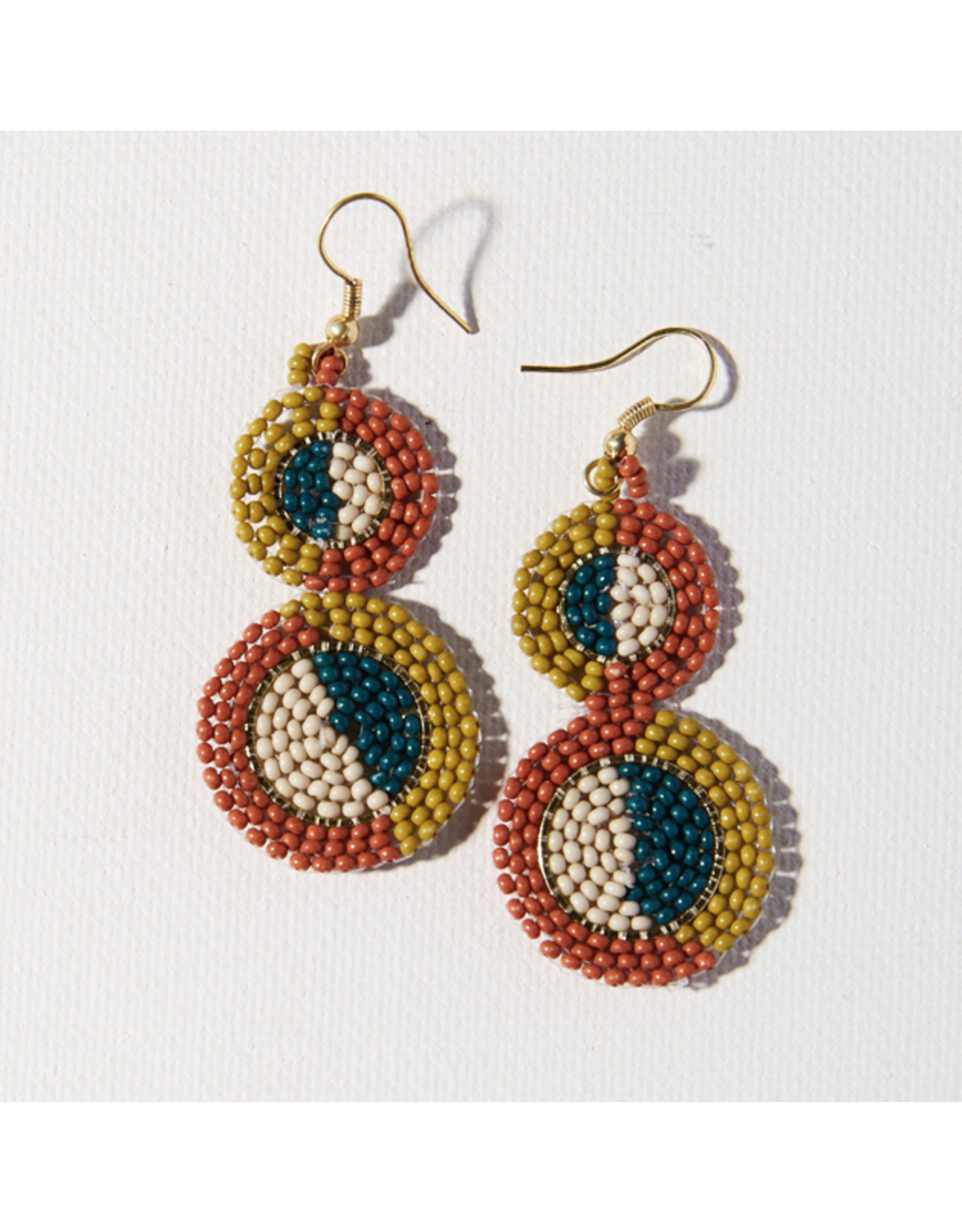 Ink + Alloy Earring Double Circle Rust Citron Peacock