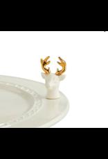 Nora Fleming Mini Oh, Deer (White/Gold Deer)