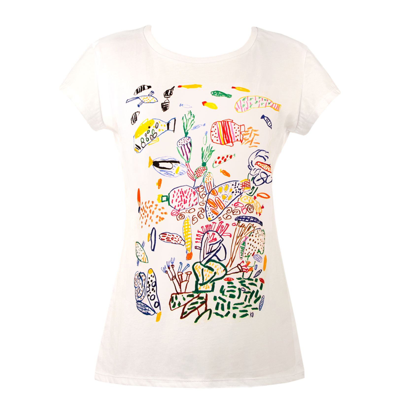 Clothing Tshirt - Fitted - Reef Drawing White