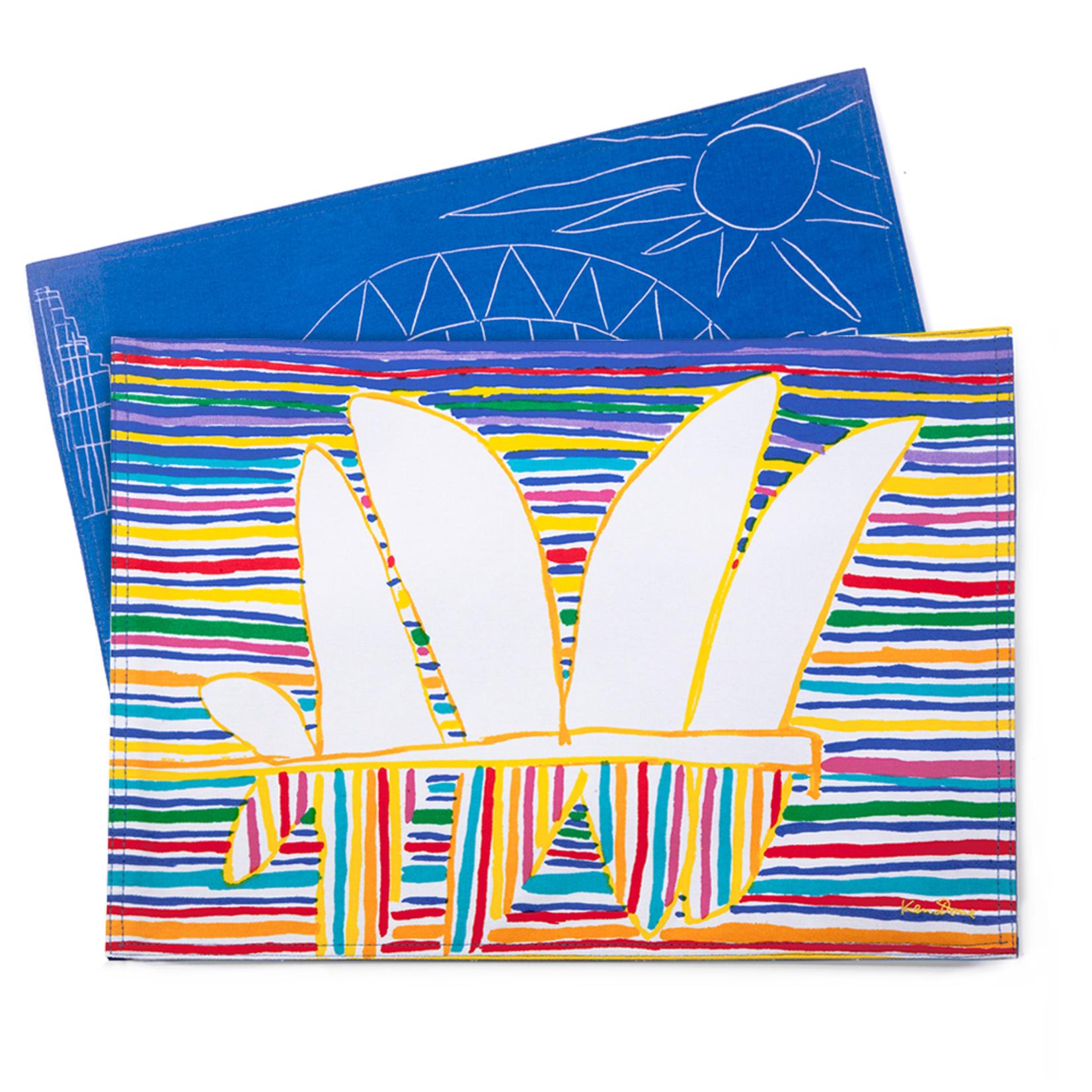 Homewares Placemats set of 2 - Sydney Striped Sea Blue