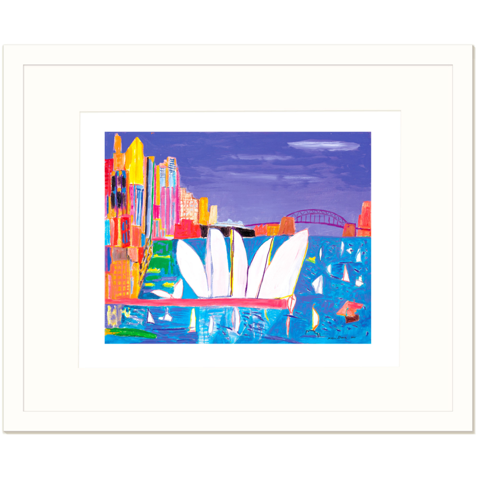 Limited Edition Prints Sydney Harbour, turquoise sea, black liner, 2006