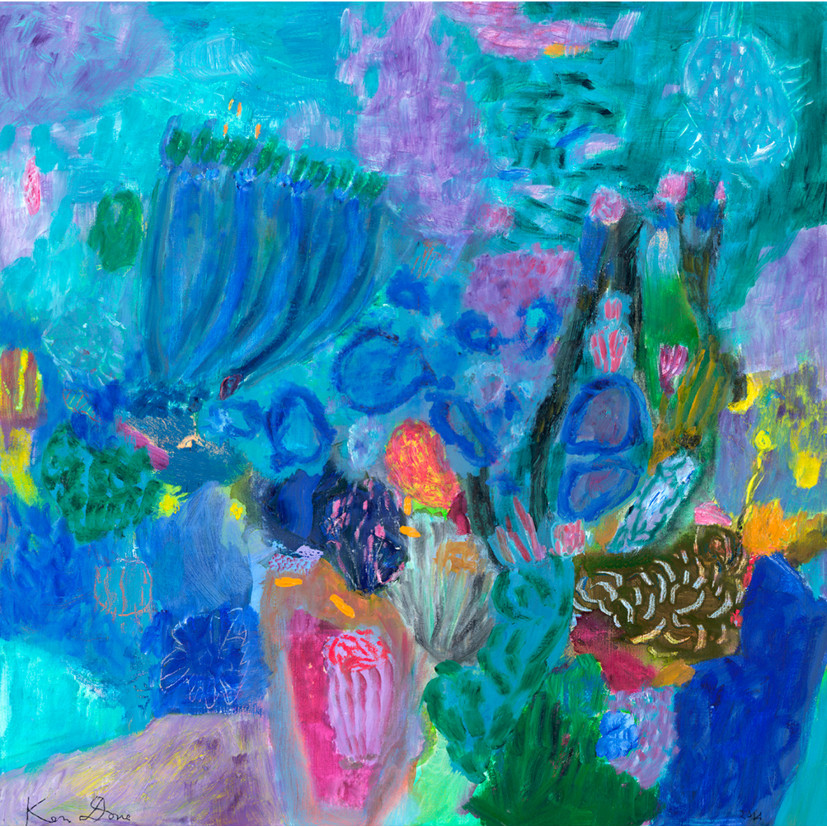 Limited Edition Prints Ultramarine and Jade coral head, 2014