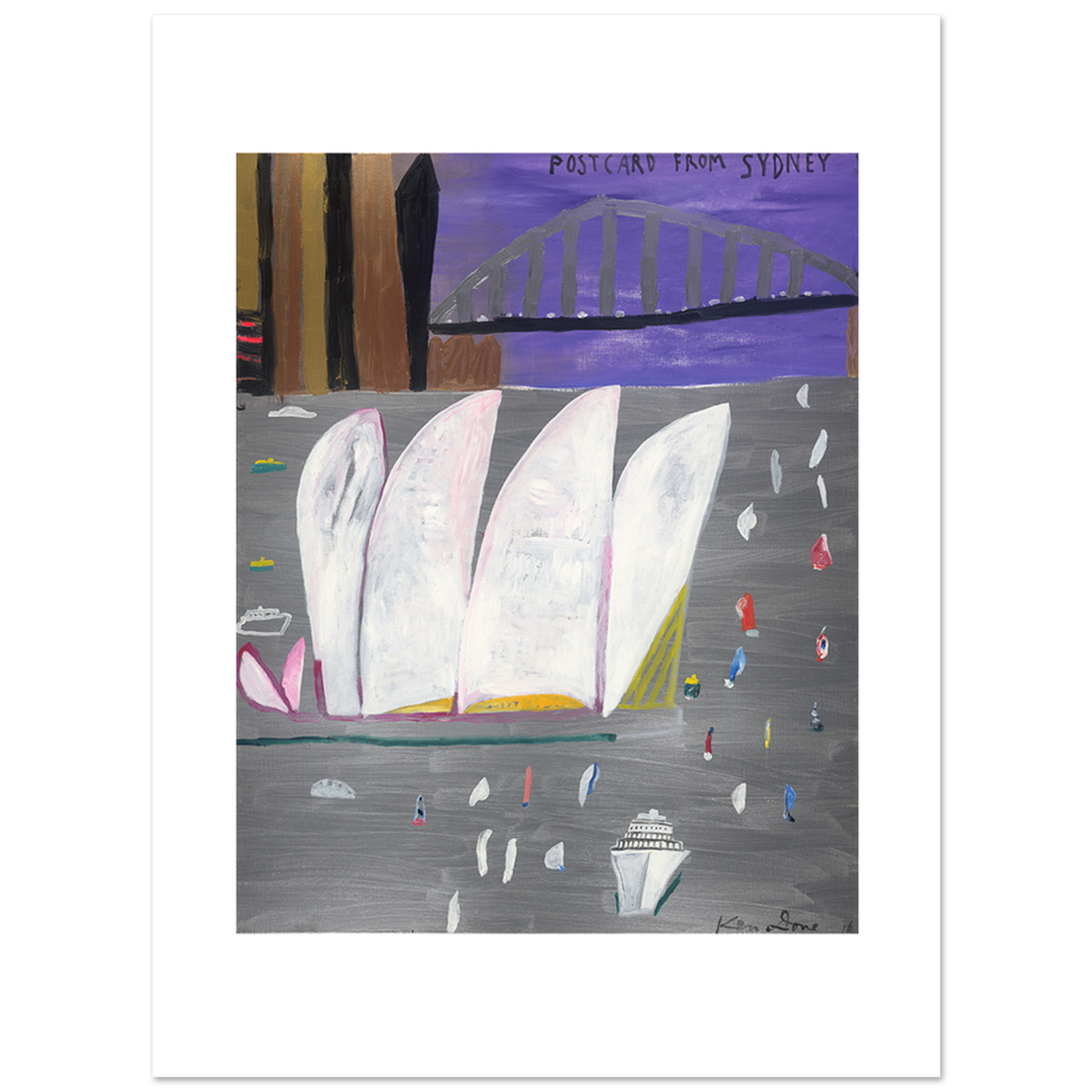Limited Edition Prints Postcard from Sydney, grey sea lilac sky, 2016