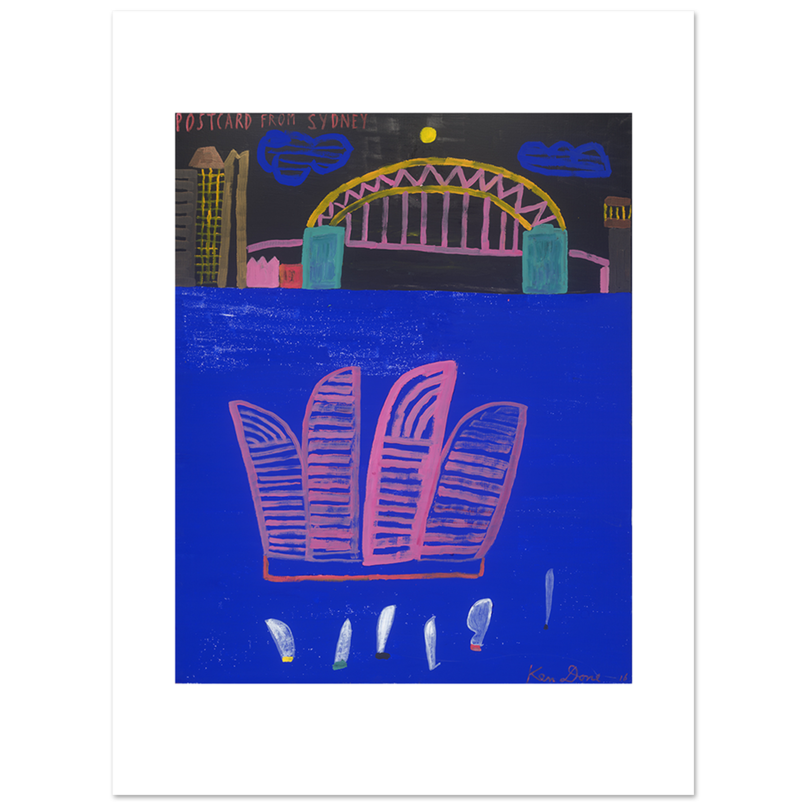 Limited Edition Prints Postcard from Sydney, pink Opera House, 2016