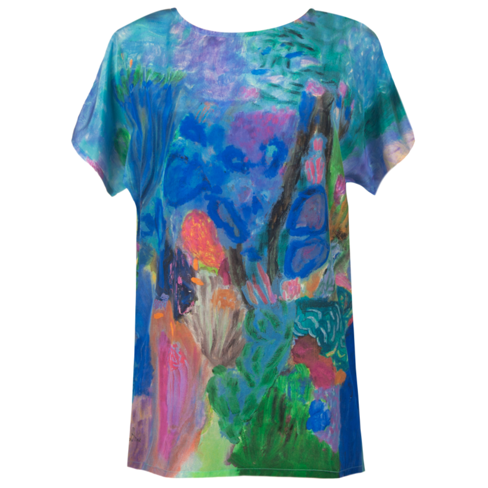 Clothing Art top silk - Ultramarine jade coral head