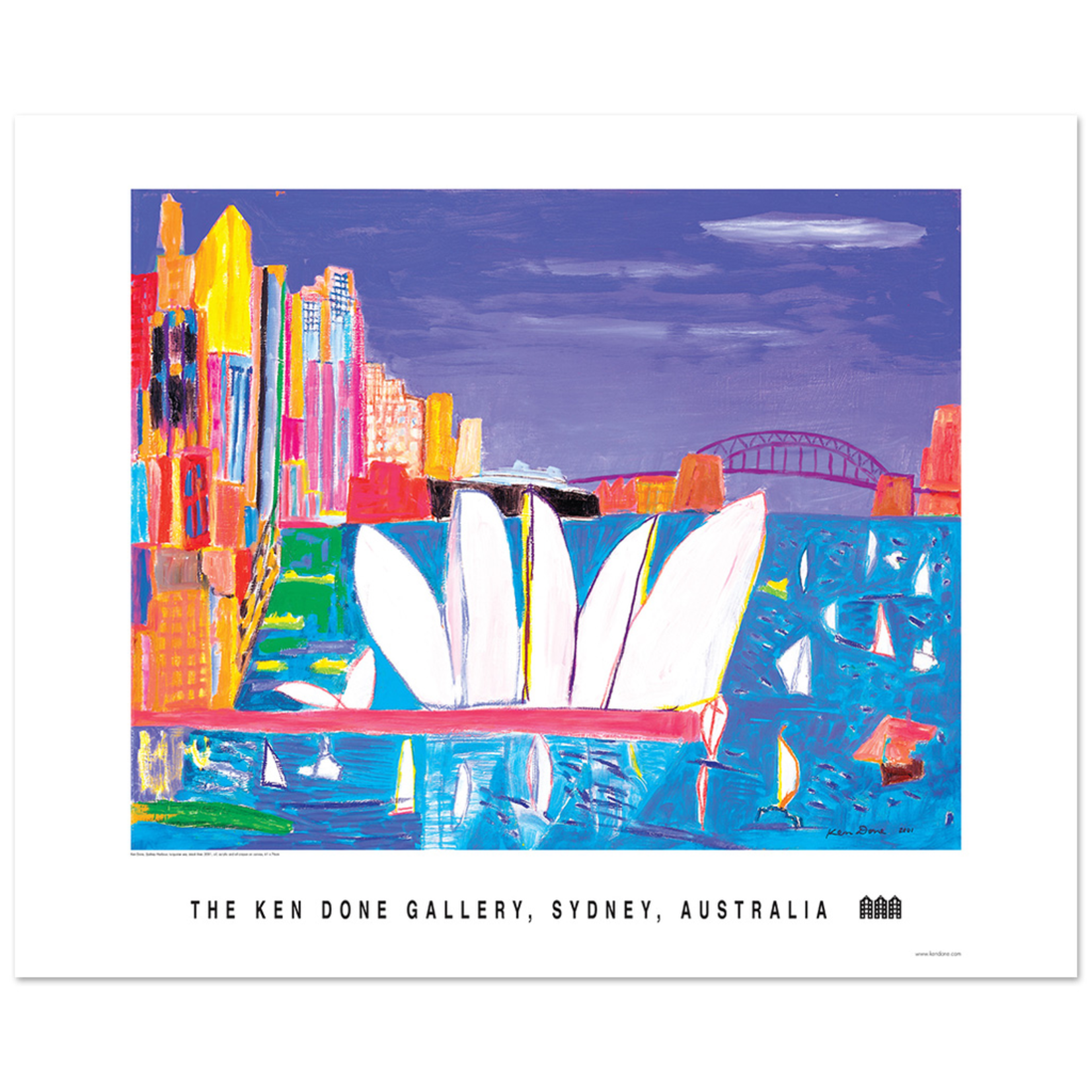 Posters Poster - Sydney Harbour, turquoise sea, black liner