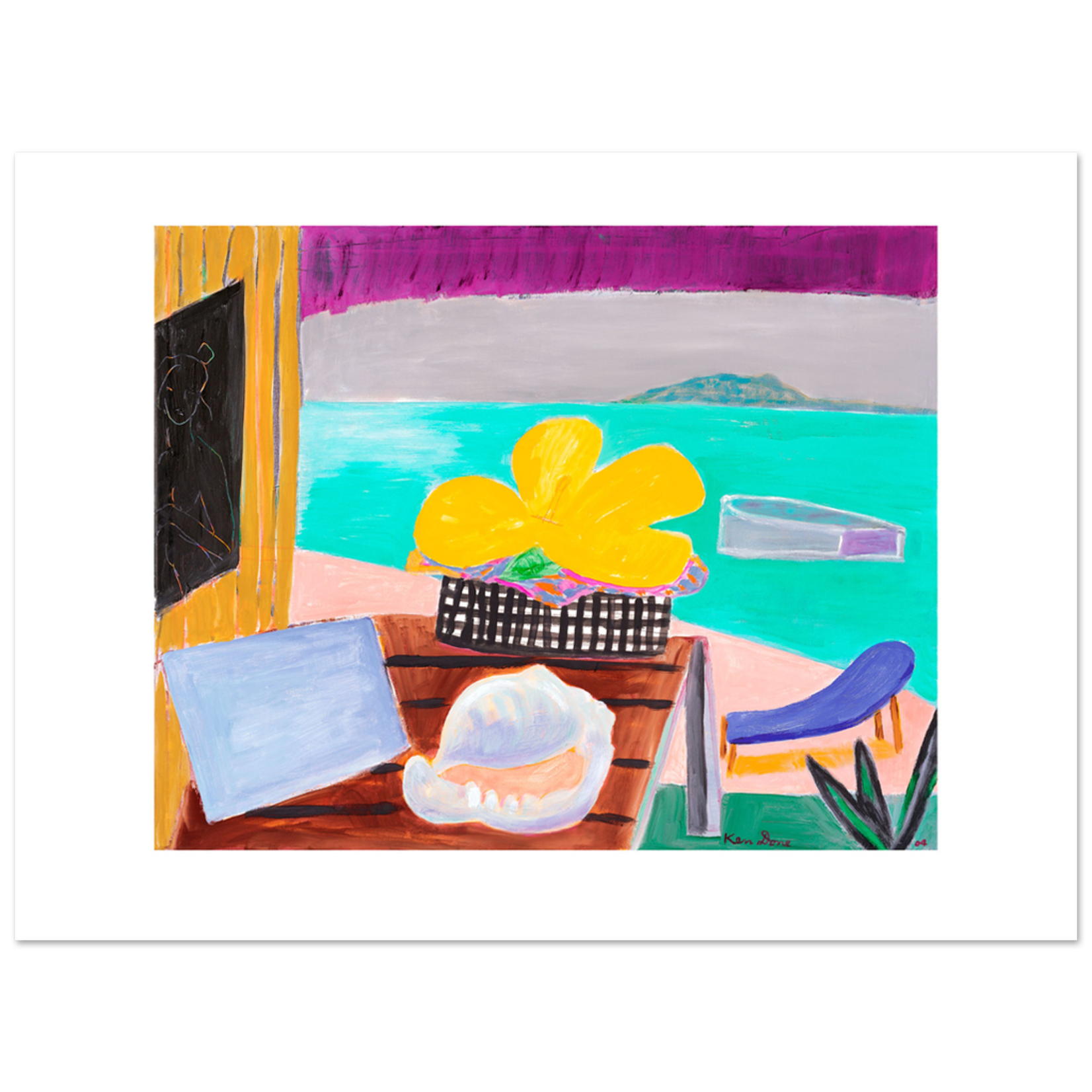 Limited Edition Prints Yellow hibiscus and blue chair, 2004