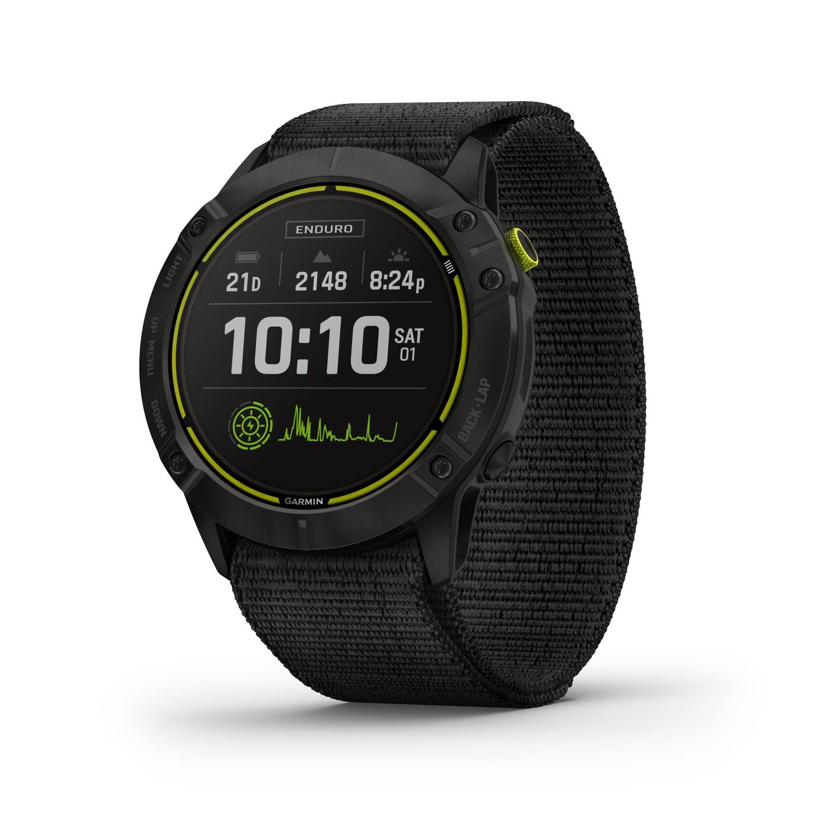 Garmin Enduro™ GPS Watch Carbon Gray DLC Titanium with Black UltraFit Nylon Strap