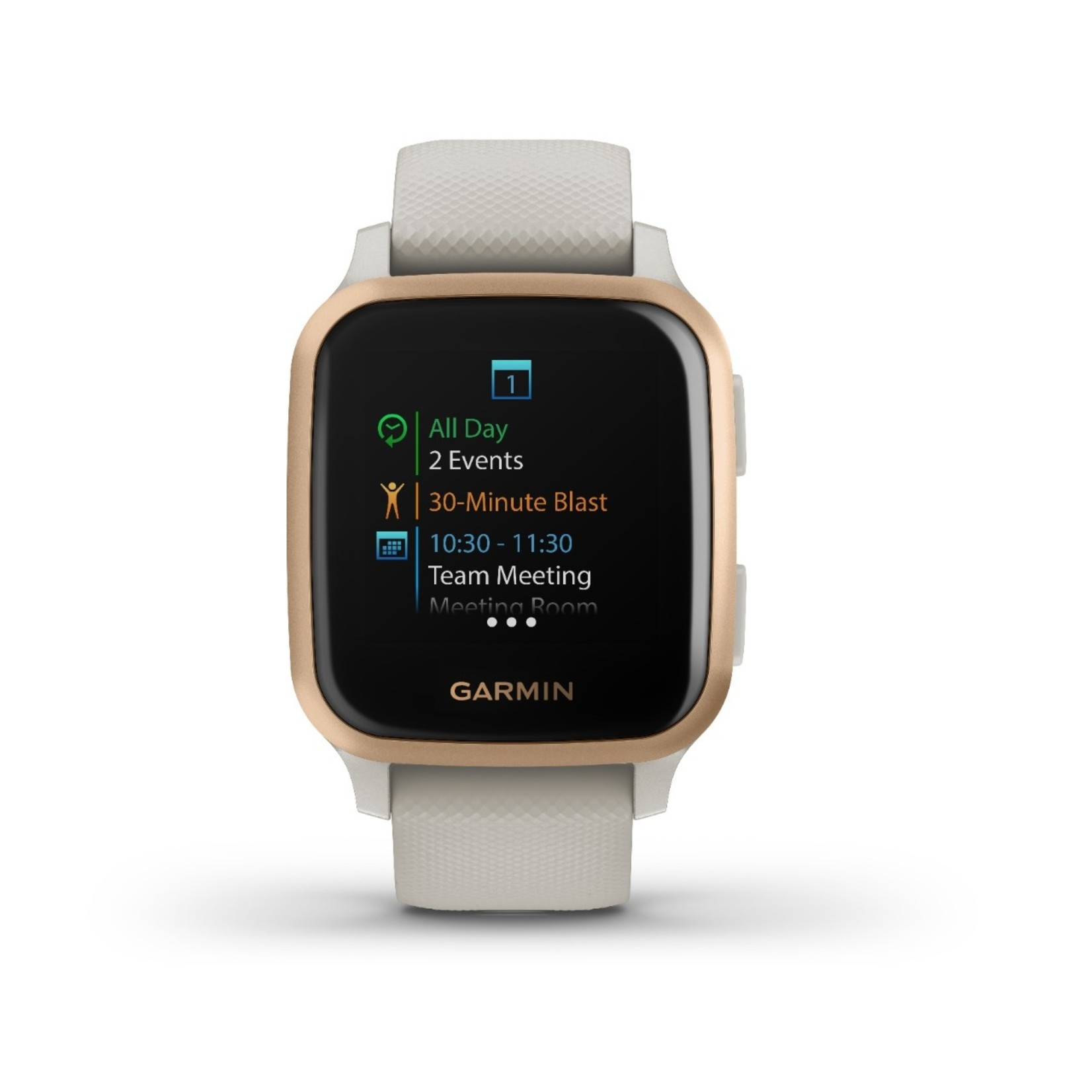 Garmin Venu® Sq – Music Edition Rose Gold Aluminum Bezel with Light Sand Case and Silicone Band