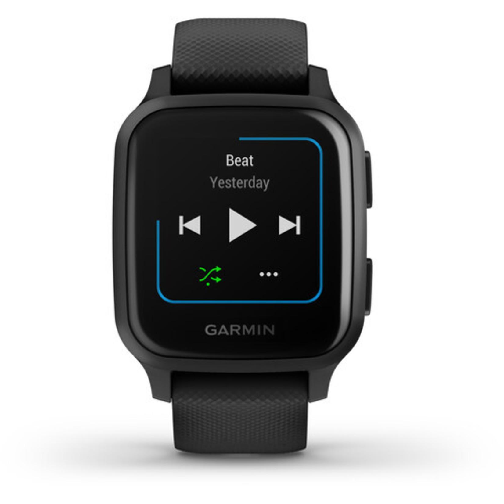 Garmin Venu® Sq – Music Edition Slate Aluminum Bezel with Black Case and Silicone Band