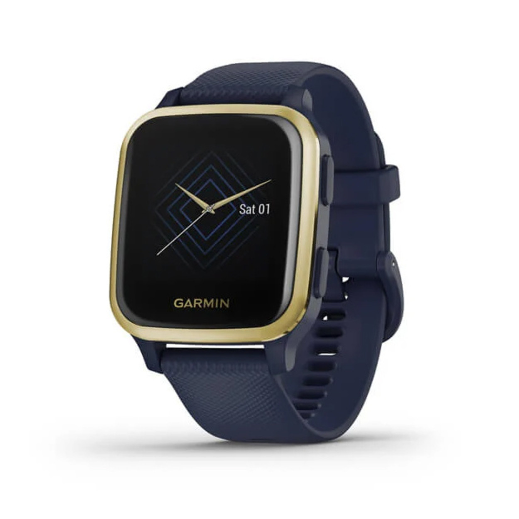 Garmin Venu® Sq – Music Edition Light Gold Aluminum Bezel with Navy Case and Silicone Band