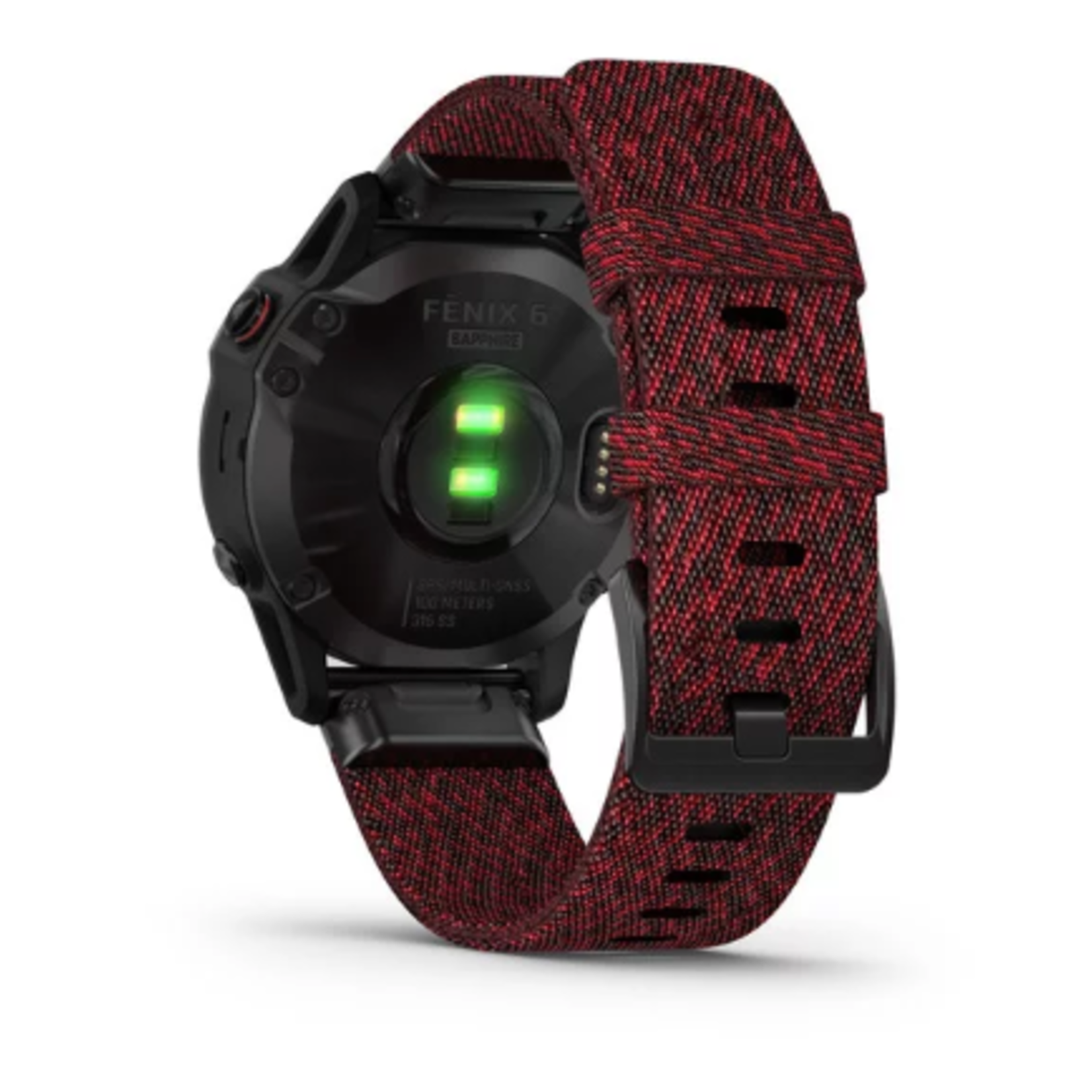 Garmin fēnix® 6 Sapphire - Black DLC with Heathered Red Nylon Band