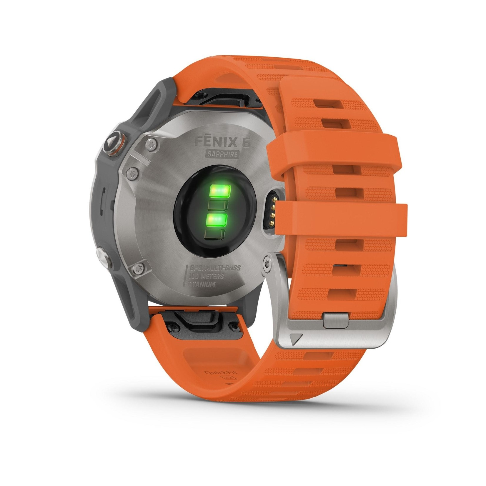 Garmin fēnix 6 Sapphire - Titanium with Ember Orange Band
