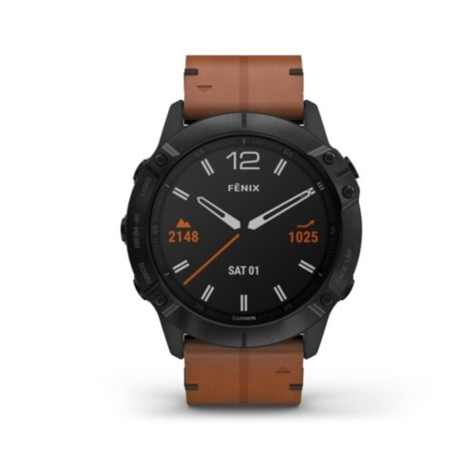 Garmin fēnix® 6X Sapphire - Black DLC with Chestnut Leather Band