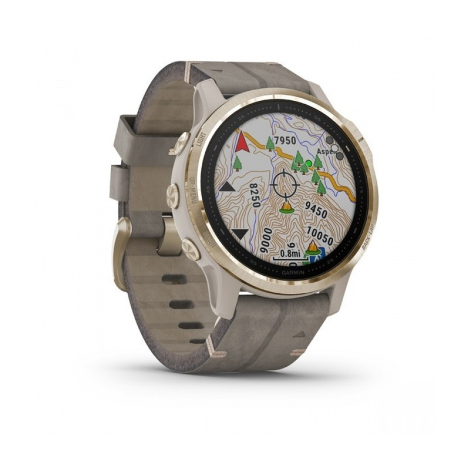Garmin fēnix® 6S Sapphire - Light Gold-tone with Shale Gray Leather Band