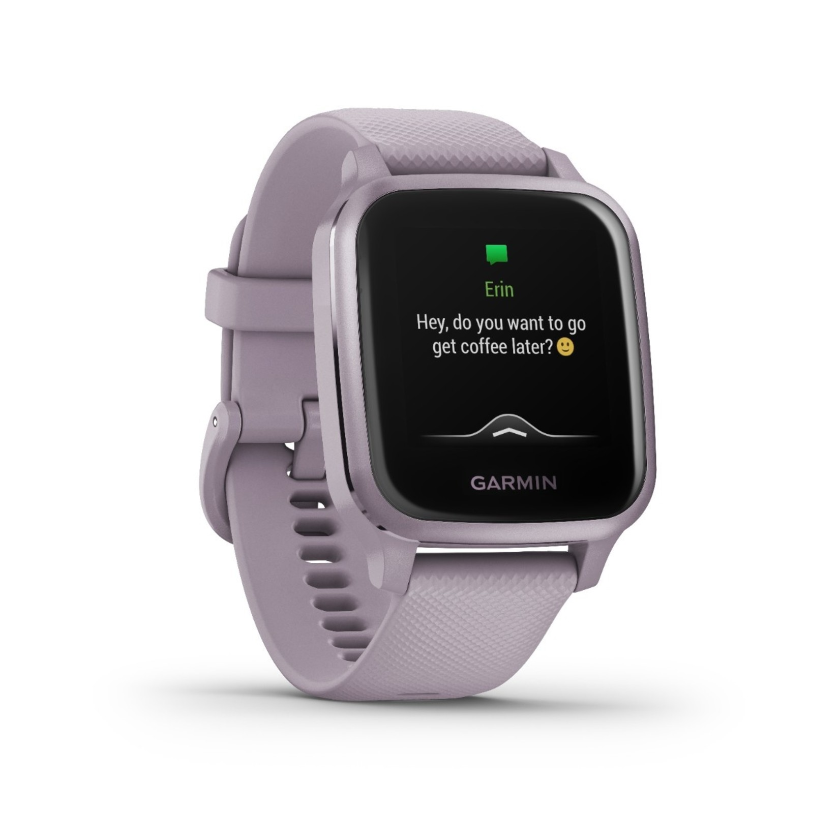 Garmin Venu® Sq Metallic Orchid Aluminum Bezel with Orchid Case and Silicone Band
