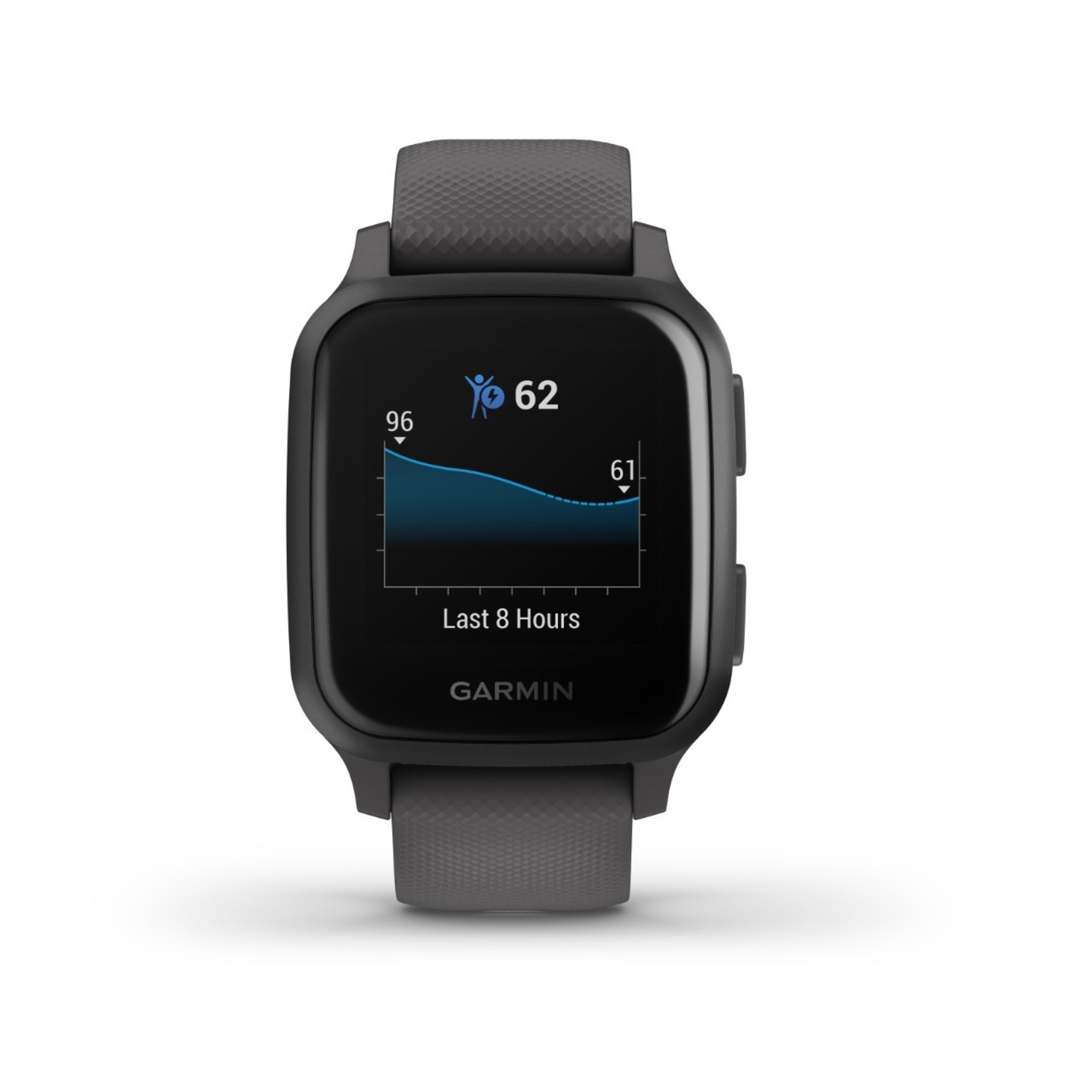 Garmin Venu® Sq Slate Aluminum Bezel with Shadow Gray Case and Silicone Band
