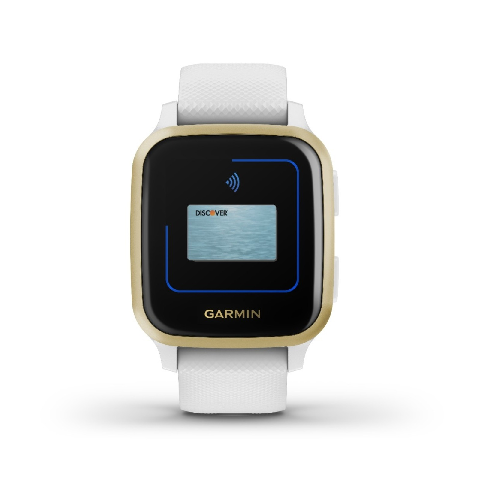 Garmin Venu® Sq Light Gold Aluminum Bezel with White Case and Silicone Band