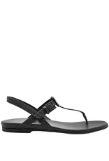 Del Carlo DelCarlo Black Fish Skin Embossed Thong Sandal 7052