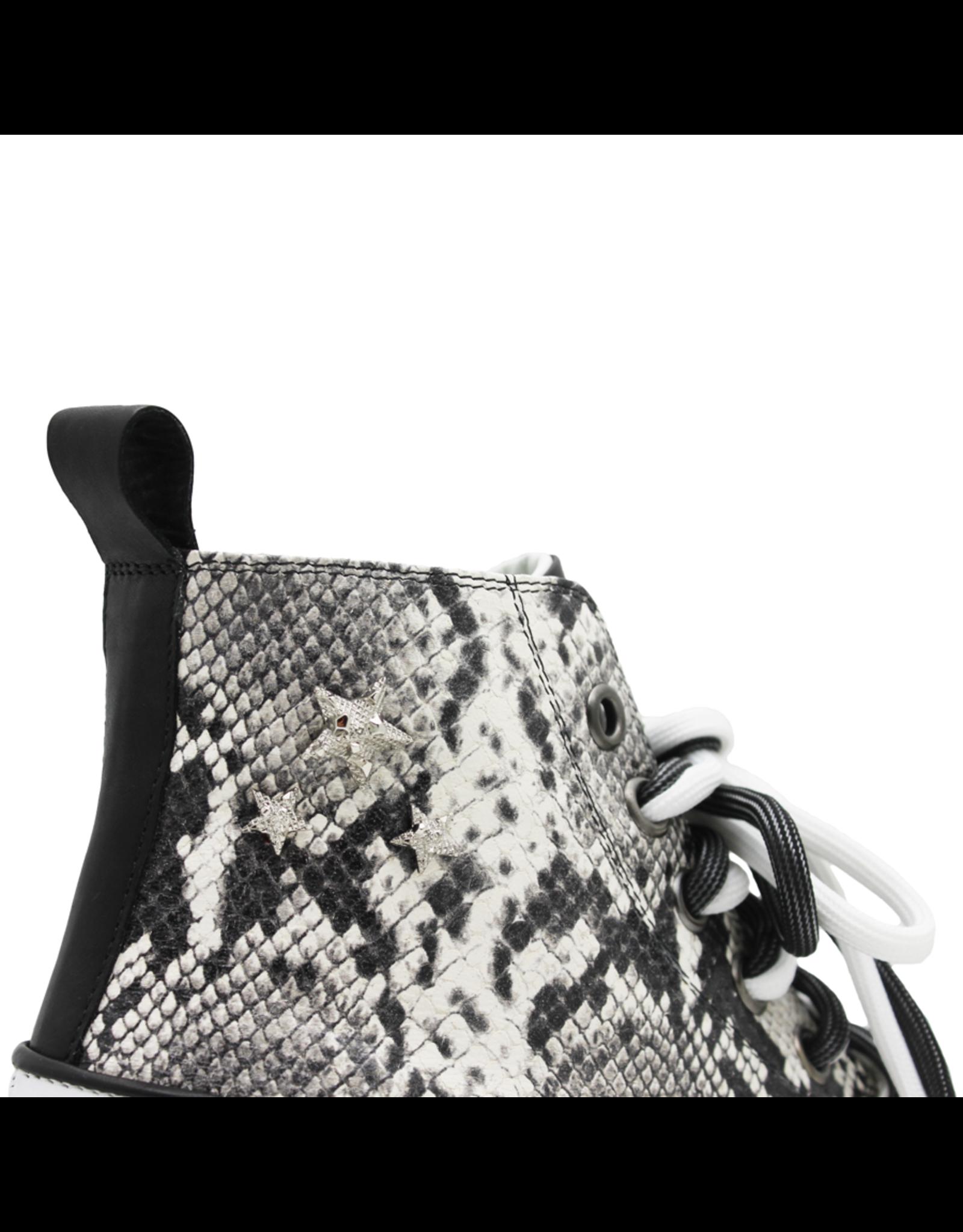 Now Now White/ Black Snake Print High Top Sneaker 5717