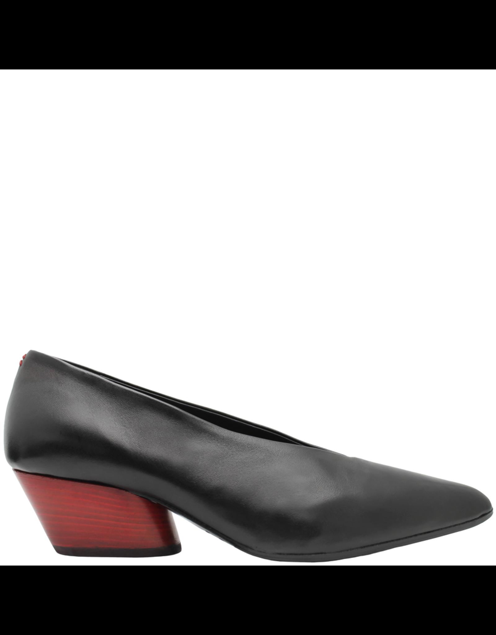 Halmanera Halmanera Red Heel Black Calf Point Toe Luna