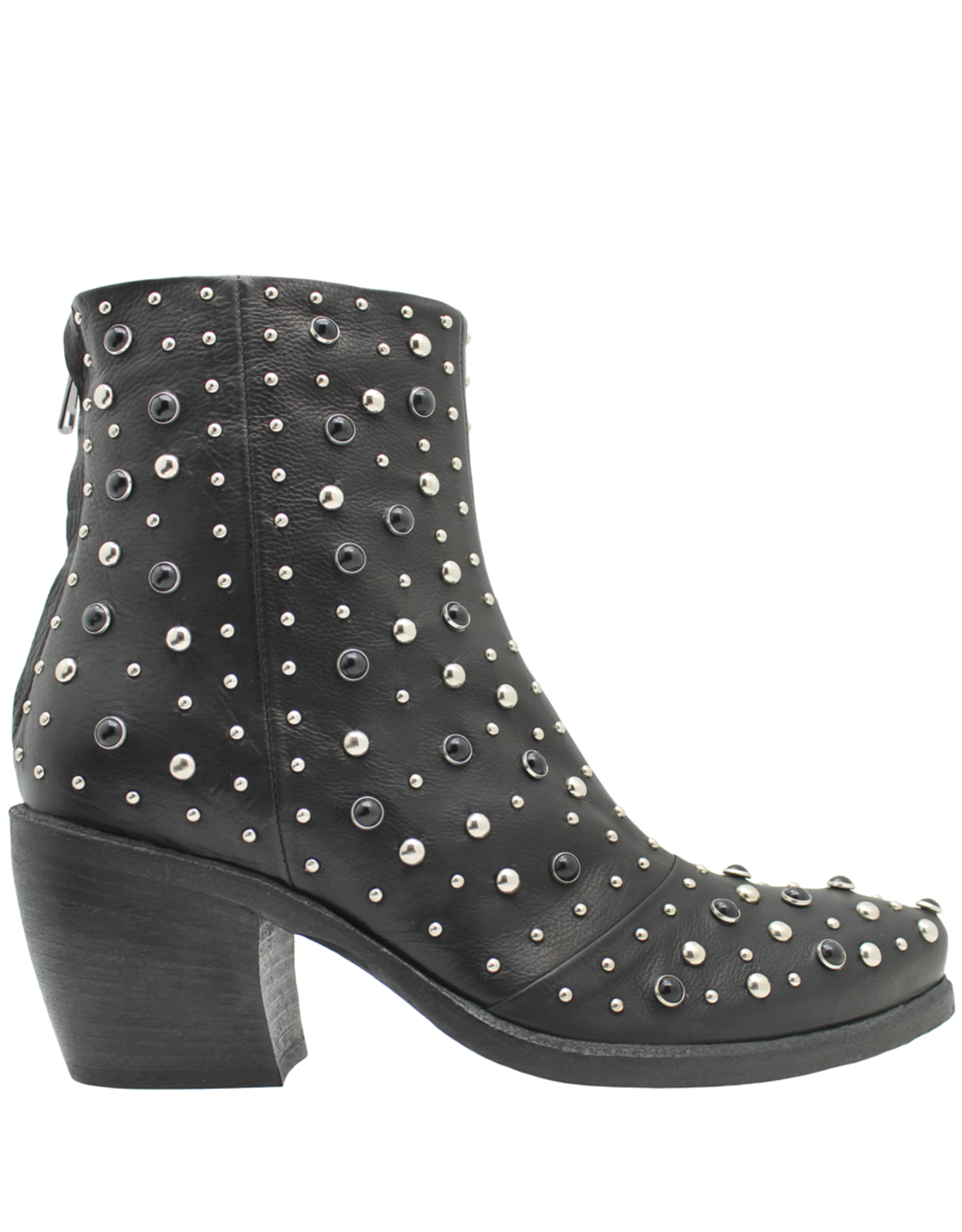 Now Now Black Multi Stud Back Zipper Boot 5861