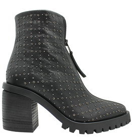 Now Now Black Front Zipper/Side Zipper Small Stud Hiker Boots 5927