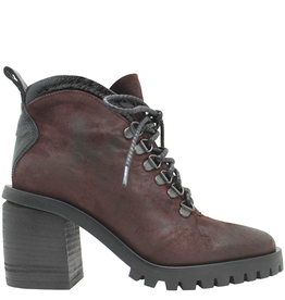 Now Now Bordo Nubuck Medium Heel Lace-Up Hiker Boot 5931