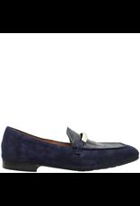 MaraBini MaraBini Blue Suede Loafer With Croco Stamp Plug 7396