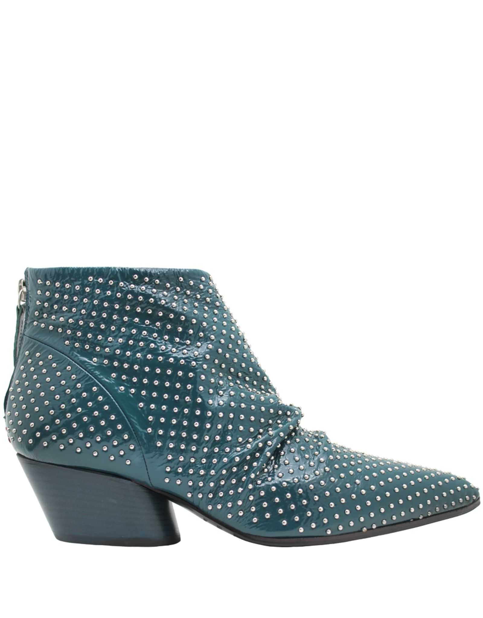 Halmanera Halmanera Green Patent Back Zipper Boot With Studs Kaite