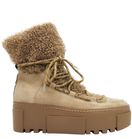 VicMatie VicMatie Tan Suede Shearling Hiker Boot with Laces 6880