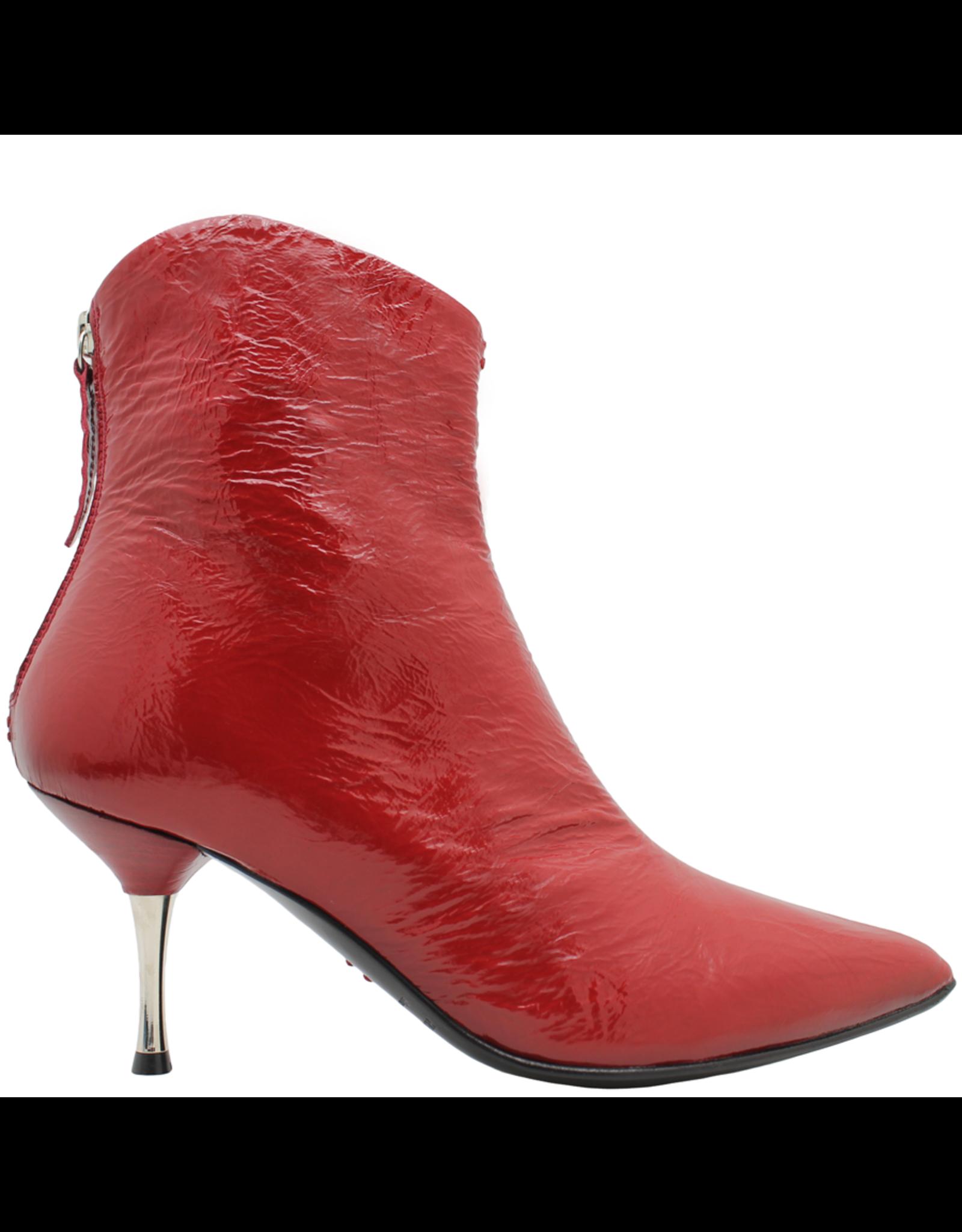 Halmanera Halmanera Red Patent Boot With Metal Heel Back Zipper 1996