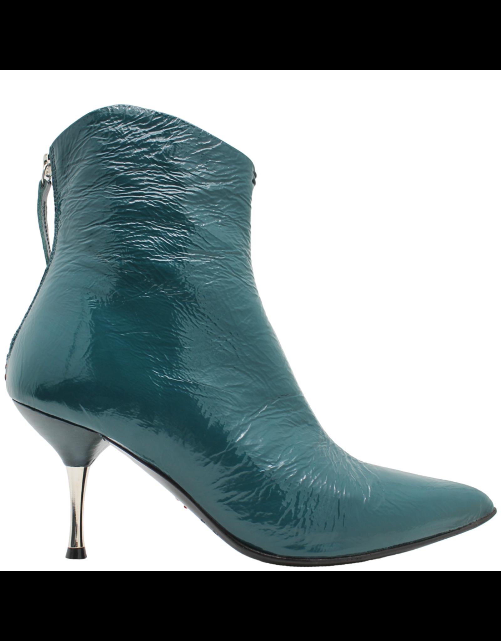 Halmanera Halmanera Teal Patent Boot With Metal Heel Back Zipper 1996