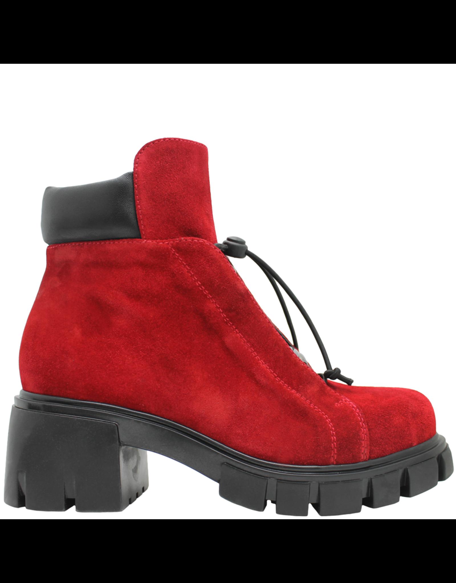 Now Now Red Nubuck Side Zipper Hiker Boot 5677