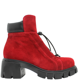 Now Now Red Nubuck Side Zipper Hiker Boot 5677