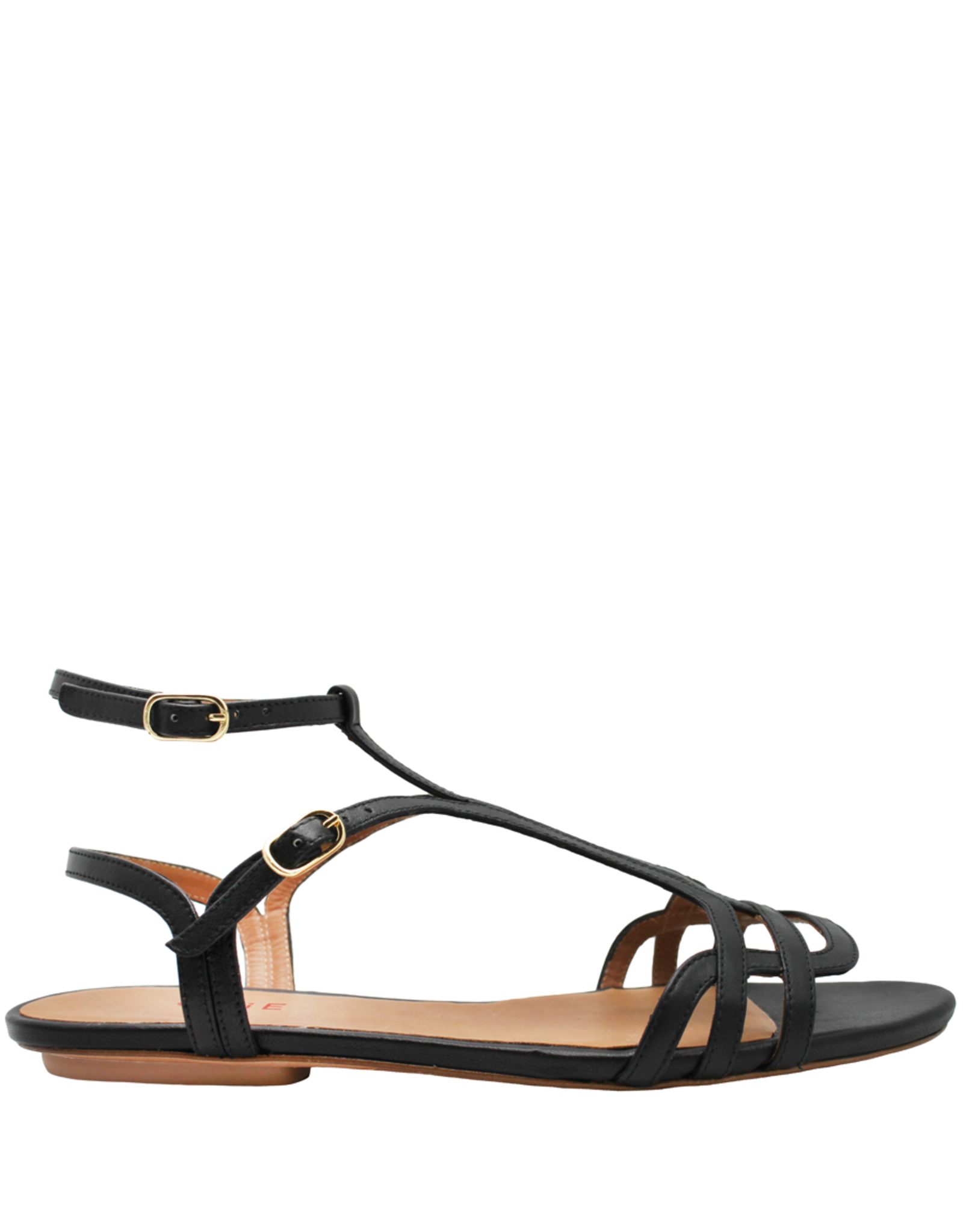 ChieMihara ChieMihara Black Nappa Double Buckle Art Deco Sandal Yael