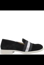 Gadea Gadea Black Suede Loafer Silver Ribbon Detail 5134