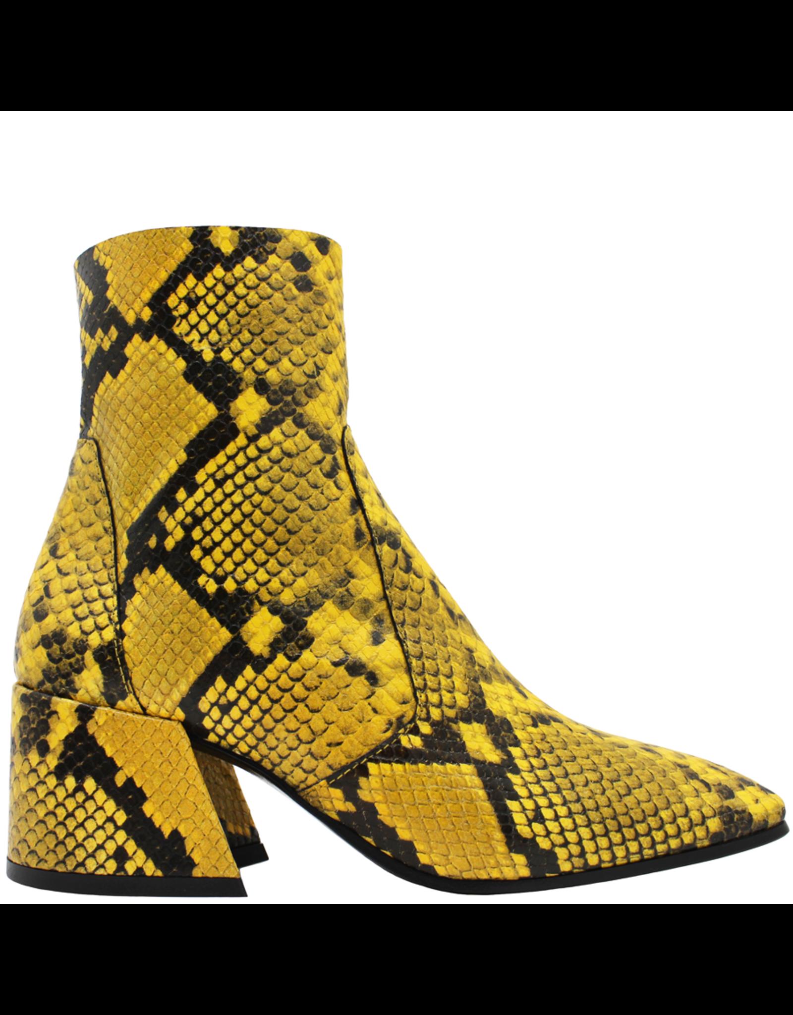 Elena Iachi ElenaIachi Yellow Snake Mid-Calf Square Toe Boot 1945