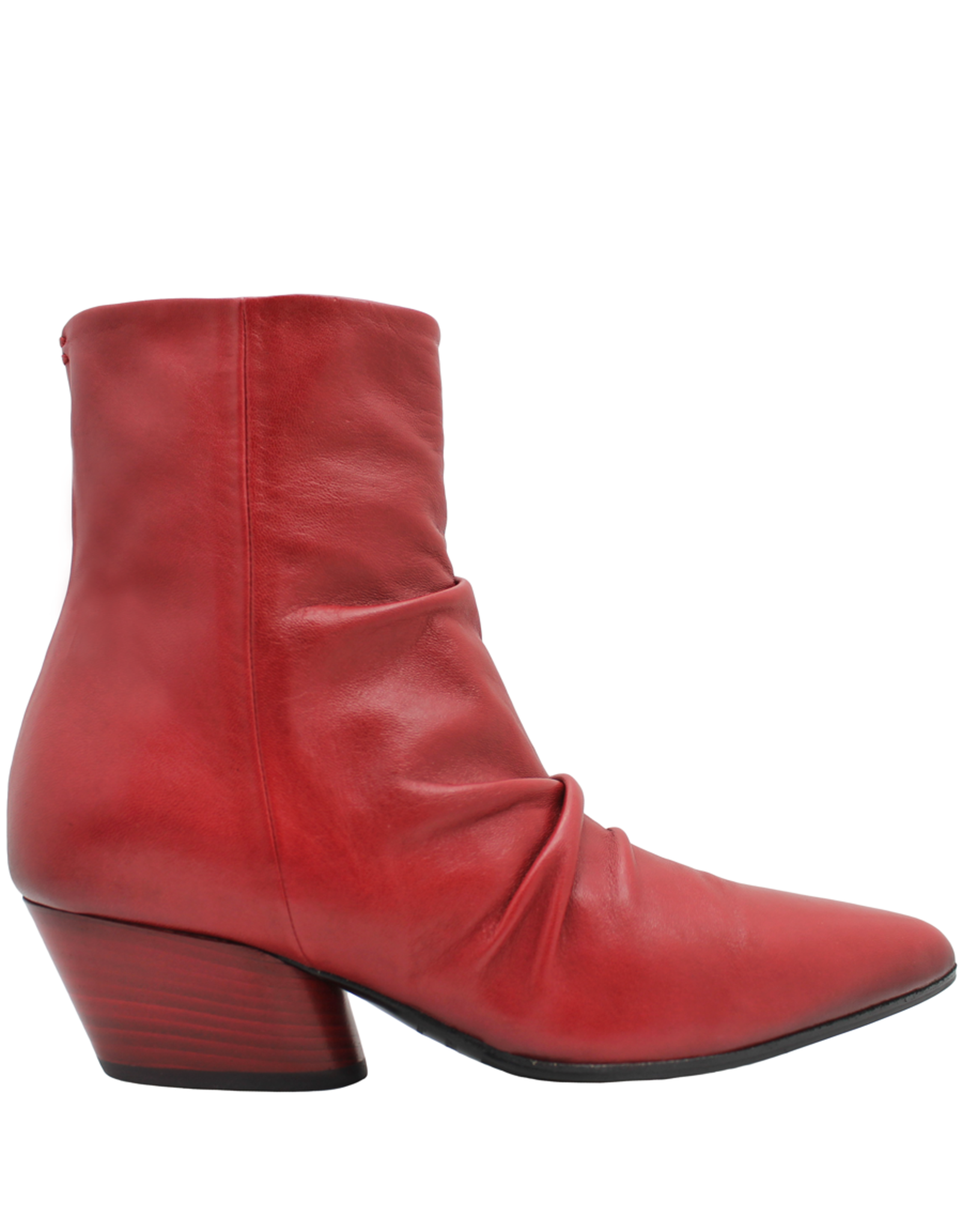Halmanera Halmanera Red Ruched Side Zipped Boot Mick