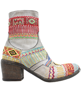 FauzianJeunesse FauzianJeunesse Grey Tribal Embroidered Ankle Boot 3453
