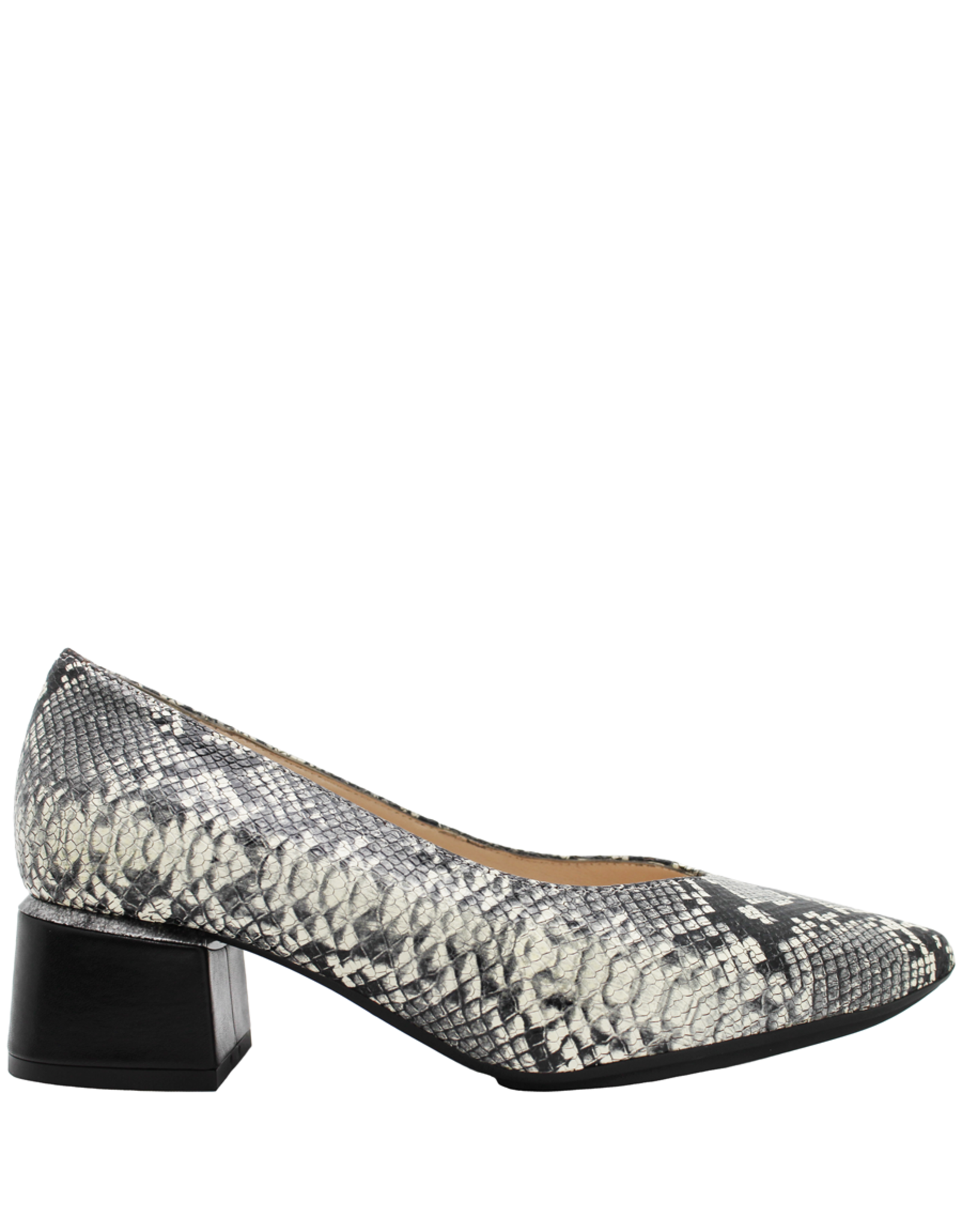 Gadea Gadea Black White Python Point Toe Pump Block Heel 5180