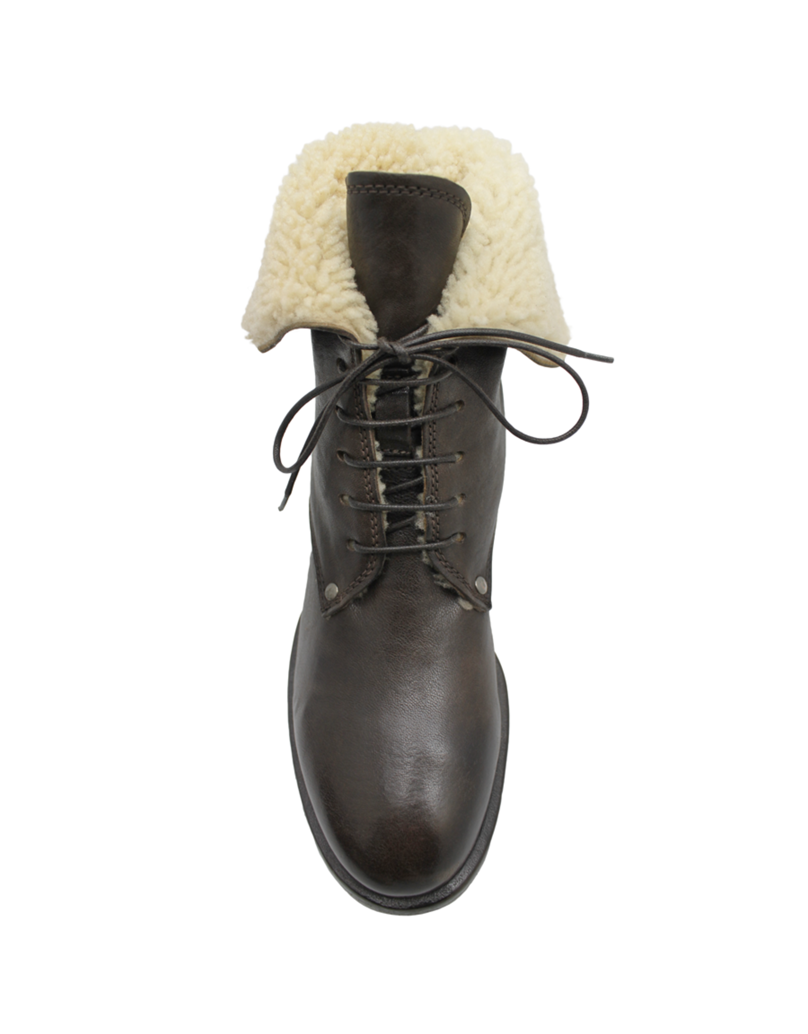 Moma Moma Cafe Lace-Up With Vanilla Shearling Ankle Boot 9083