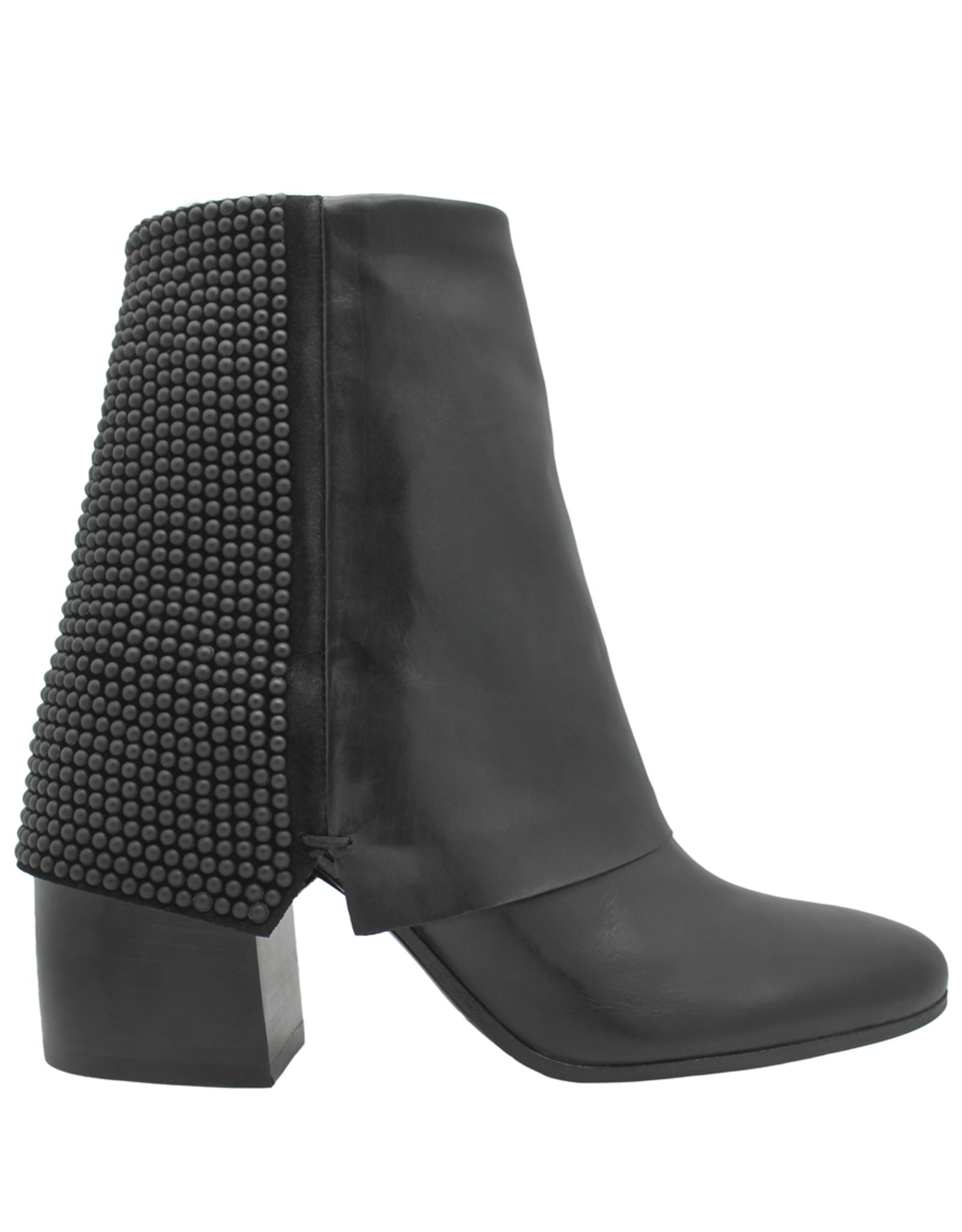 Now Now Black Fold Over Ankle Boot With Dots 6008
