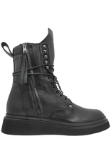 Now Now Black Double Zipper Lace-Up Boot Crepe Sole 5686