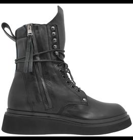 Now Now Black Double Zipper Lace-Up Boot Crepe Sole 5686