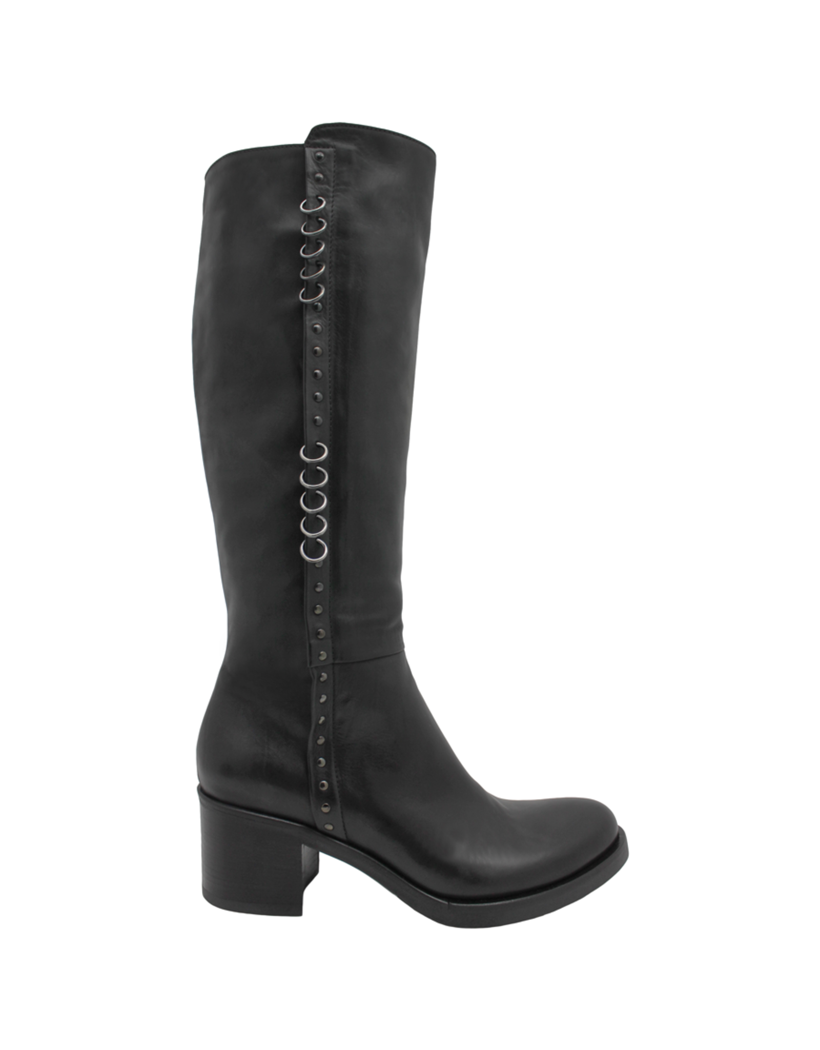 Now Now Black Calf Knee Boot With Pierced Rings  6012